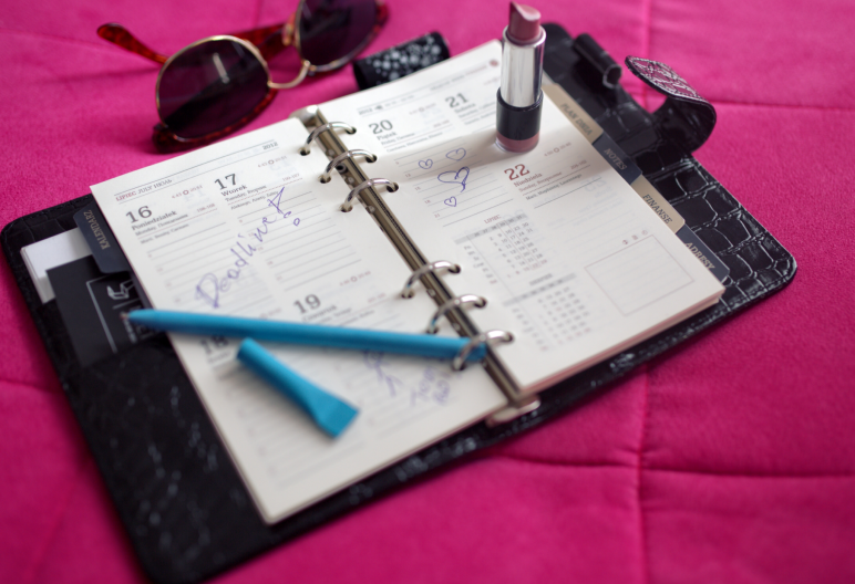 No More Excuses Fitness Training: Better Late Than Never: 5 Tips on How to Start Your Resolutions Now: Paper calendar, lipstick, sunglasses, pen : www.nmefitnesstraining.com